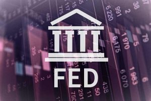 FED abbreviation against purple backdrop of numbers