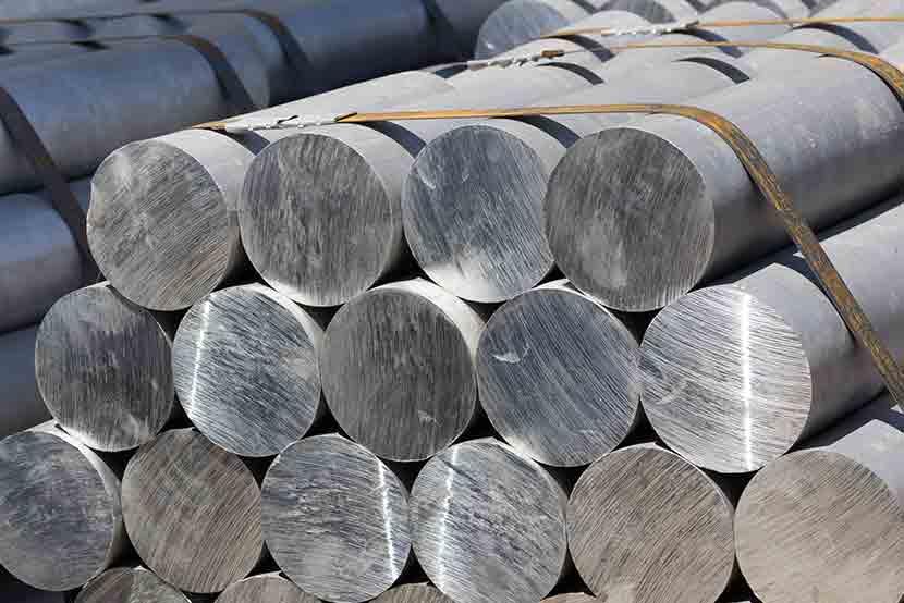 Raw aluminum stacked in shipyard