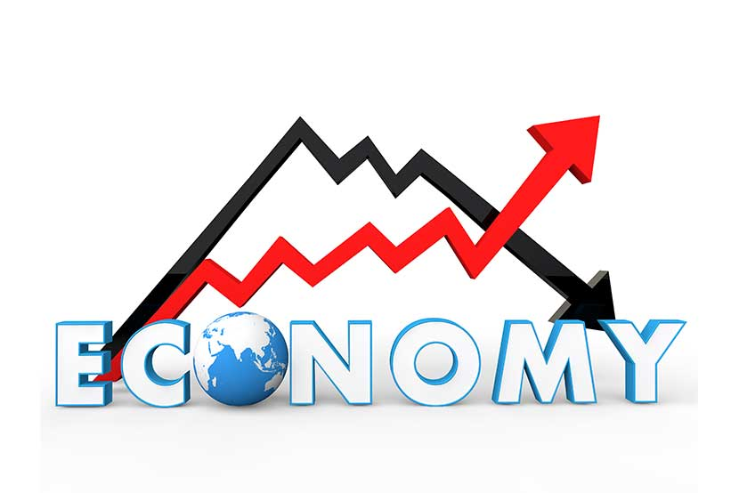 Two arrows illustrating how the world economy could be improving or declining