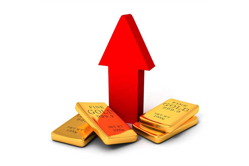 Four 100 gram gold bars at the base of a red arrow pointing upwards