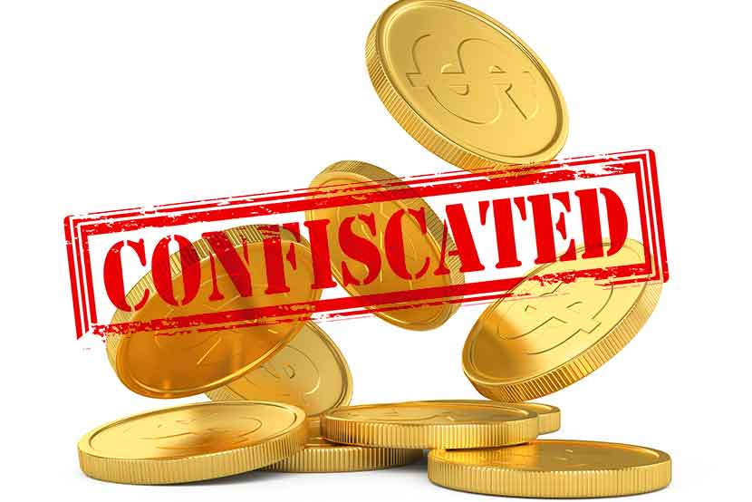 Gold coins and confiscated stamp