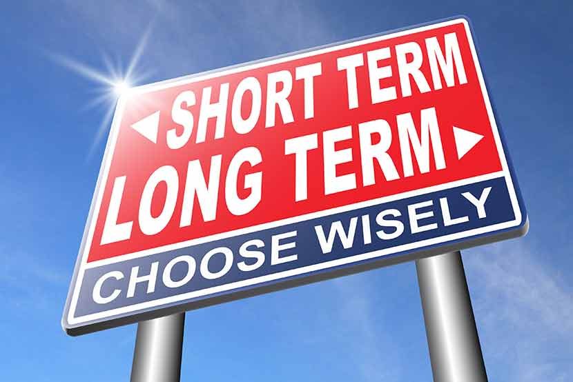 Road sign with arrows pointing to short term and long term