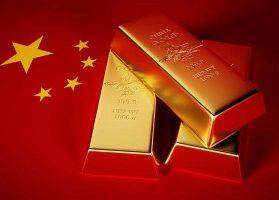 Three 1000 gram gold bars and Chinese flag