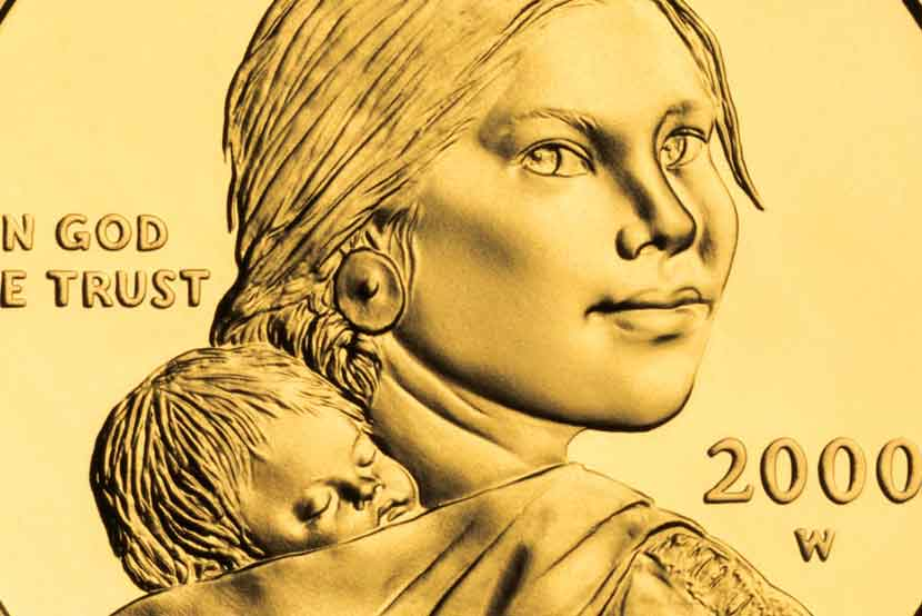 Sacagawea gold dollar coin zoomed in on women's face