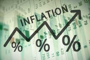 Arrow and percentage signs indicating inflation