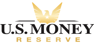 """The words """"U.S. Money Reserve"""" with a gold eagle silhouette above it"""
