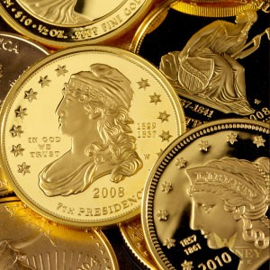 multiple gold coins from the first spouse gold coin series