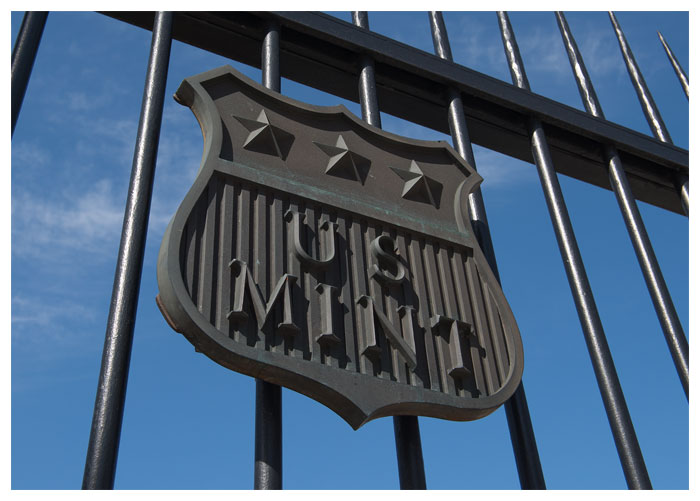 Iron gates of the U.S. Mint in Denver, CO