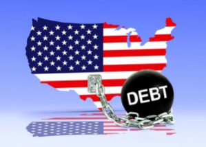 Outline of the United States, chained to a ball of debt
