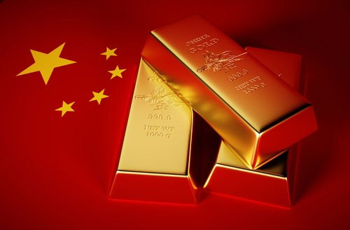 Three gold bars atop a Chinese flag