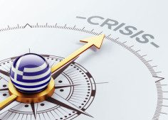 "Sleek compass rose with flag of Greece in center, and gold arrow pointing directly at the words ""Crisis"""