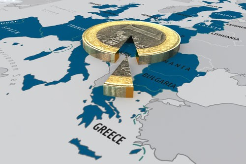 Blue and grey map of the world with a focus on Greece, overshadowed by a gold coin with a pie cut out of it