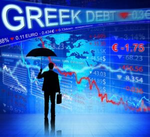 Greek debt highlighted above a backdrop of stock market prices and shadow of a man holding briefcase and umbrella