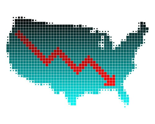 An outline of the United States, made up of tiny blue and black boxes with red arrow over the country indicating an underperforming economy