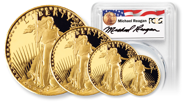Size comparison of Gold American Eagle Coins handsigned by Michael Reagan, President Ronald Reagan's son