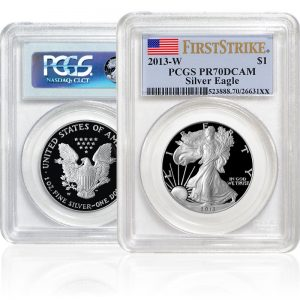 front and back of Silver American Eagle-Proofs in sealed plastic casing