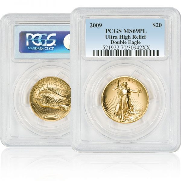 front and back of Ultra High Relief Double Eagle in plastic casing