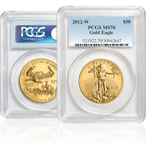 W Burnished Gold American Eagle Coins PCGS MS70 $50