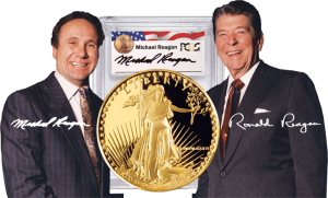 Ronald Reagan and son Michael Reagan, featured behind a close-up of one of their Signature Series gold coins
