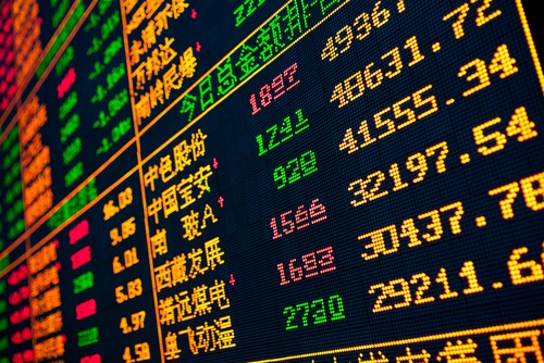 Electronic stock market pricing board, with Chinese characters