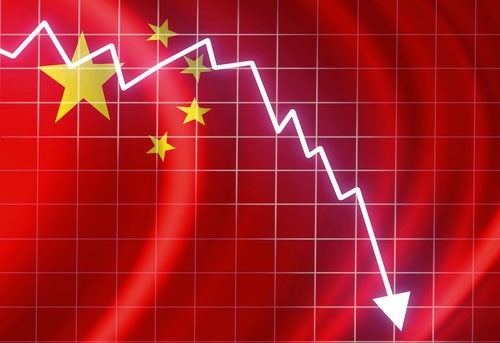 White arrow indicating China stocks crash and Chinese flag in background