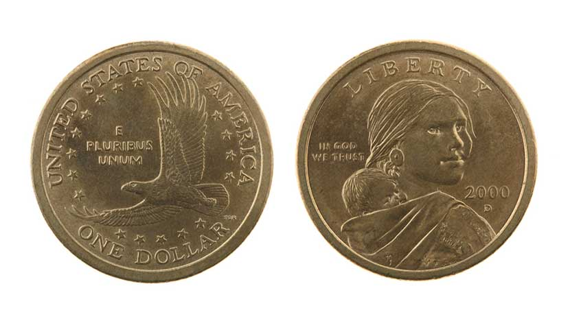 Front and back of the 2000 Sacajawea gold one dollar coin