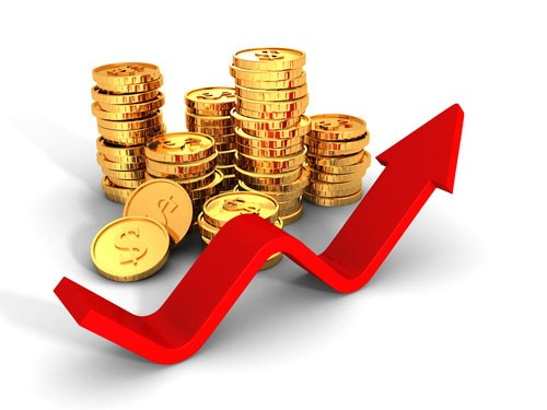 Gold coins marked with the dollar sign and red arrow pointing upwards as gold prices climb