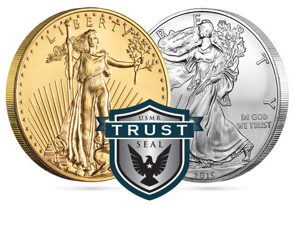 Gold and Silver Liberty Coins, stamped with USMR Trust Seal