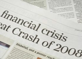 "Snippet of newspaper article about financial crisis of 2008 with a focus on the word ""disbelief"""