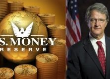 U.S. Money Reserve logo against backdrop of gold coins, next to formal, patriotic headshot of Philip Diehl