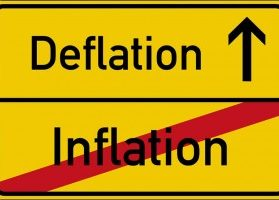 Deflation increasing and inflation decreasing