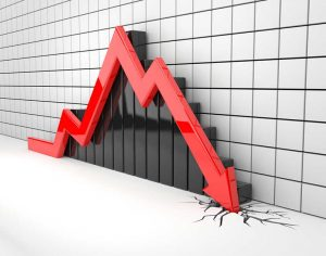 Black bar graph, grey tile background, and red arrow crashing through the floor indicating stocks crashing