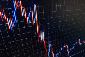 Red and blue stock market line chart as stocks crash