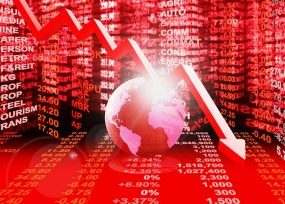 Red arrow, red globe, and litany of red stock market numbers indicating stocks down