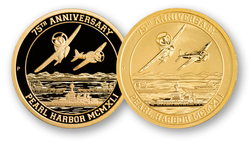 Pearl Harbor Proof Gold Certified Reagan Legacy next to 1 oz. Pearl Harbor Gold Bullion Coin