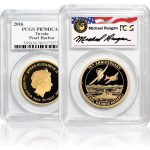 front and back of gold pearl harbor coin in plastic casing