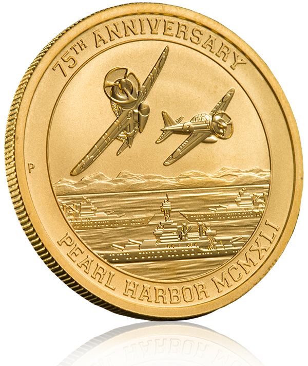 Front view of 2016 Pearl Harbor Gold Coin with shadow