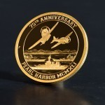 Front of Pearl Harbor Certified Gold Coin from the Pearl Harbor Reagan Legacy Series