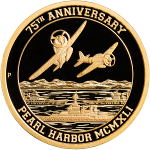 Front of Proof Pearl Harbor Certified Gold Coin from the Reagan Legacy Series