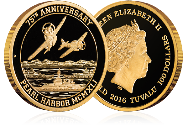 Both sides of the Proof Pearl Harbor Gold Coin from the Reagan Legacy Series