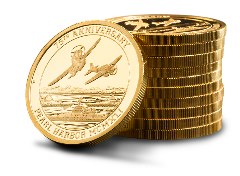 Small, neat stack of 75th Anniversary Pearl Harbor Gold Coins