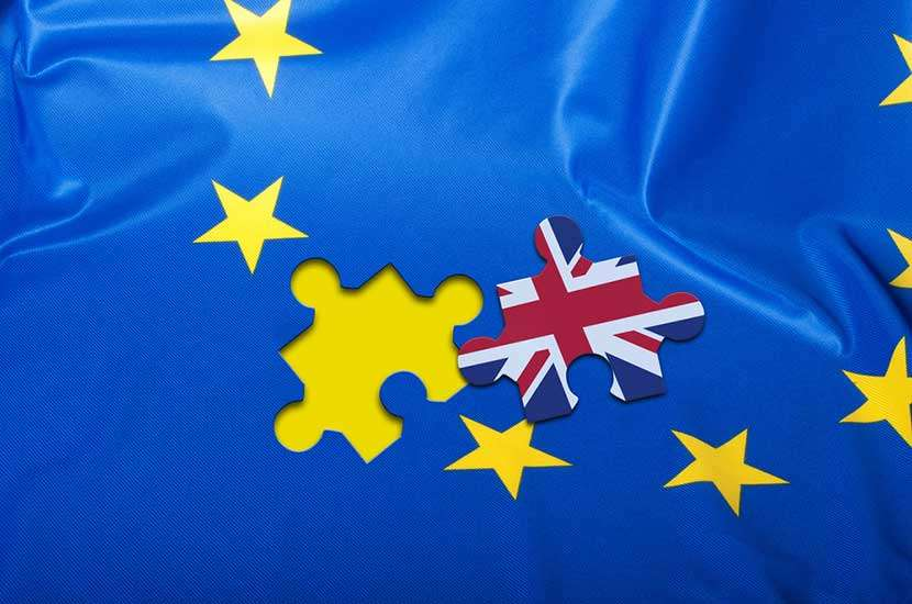 European Union flag with missing puzzle piece featuring Britain's flag