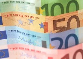 Four Euro bills in denominations of 10, 20, 50 and 100