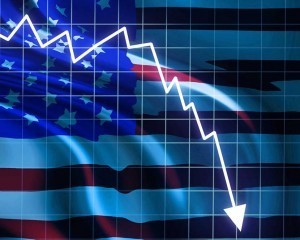 American flag and falling arrow indicating chances of recession on Wall Street are growing for 2016
