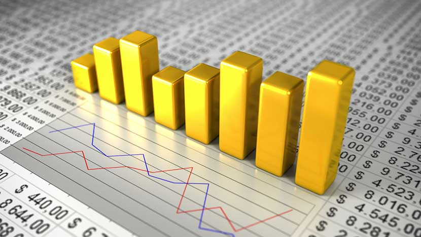 Gold bar chart, red and blue line chart, and stock market prices