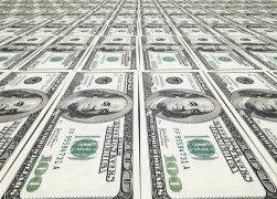 Infinite sheet of $100 bills being printed
