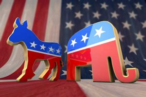 Patriotic donkey and elephant representing the political parties of the South Carolina primary