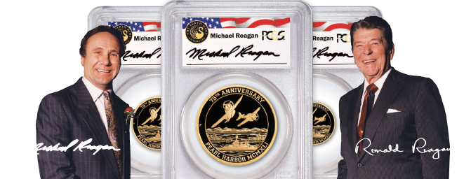 Michael Reagan and Ronald Reagan standing next to specially packaged Reagan Signature Series Gold Coins