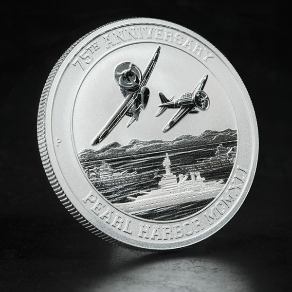 Front of 75th Anniversary 1 oz. Pearl Harbor Silver Coin