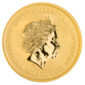 Back of 2016 1/10th oz. Pearl Harbor Gold Coin featuring Queen Elizabeth II